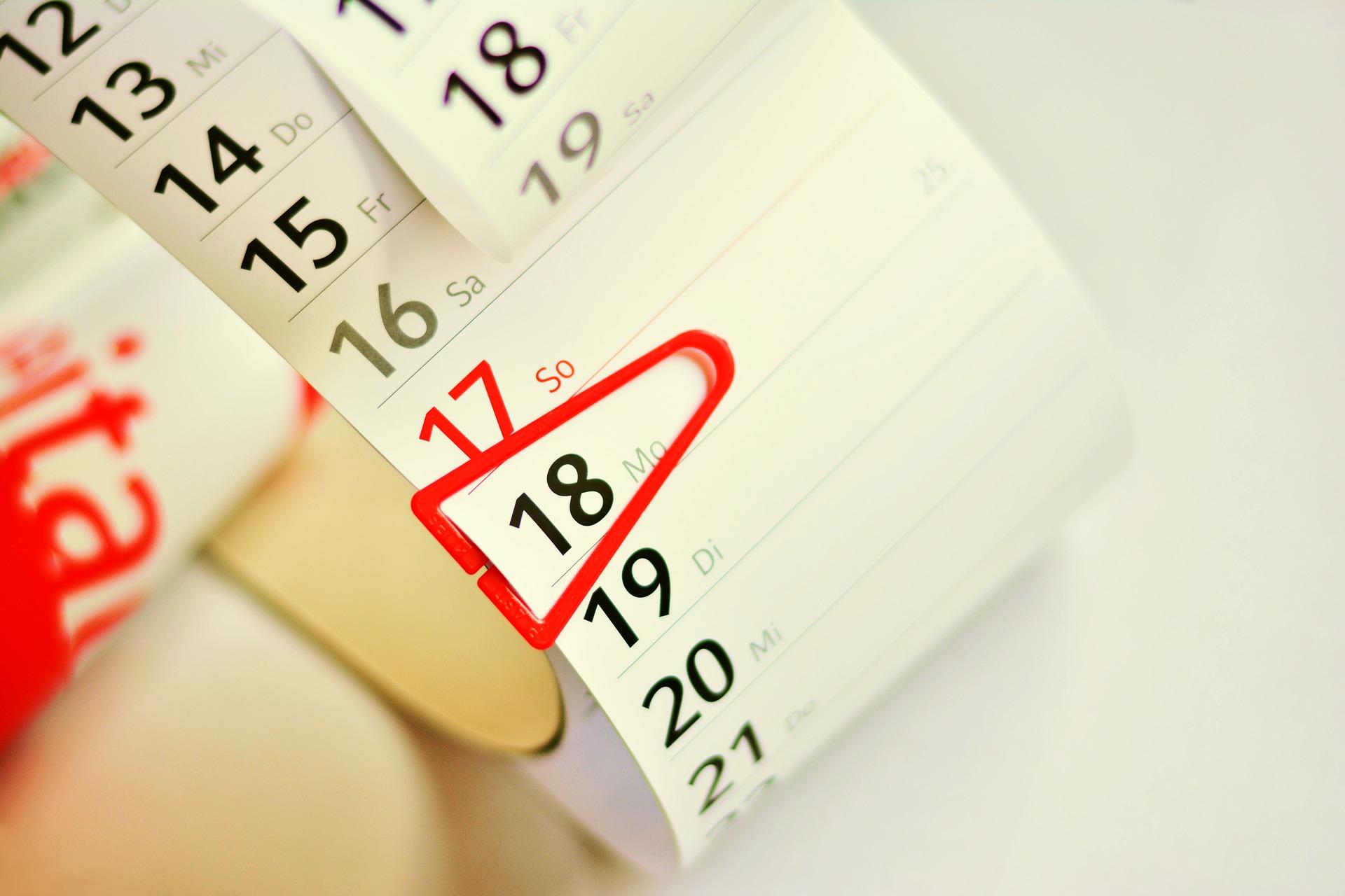 calendar for freshers week 2021