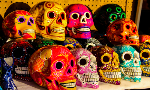 skulls in all different colours